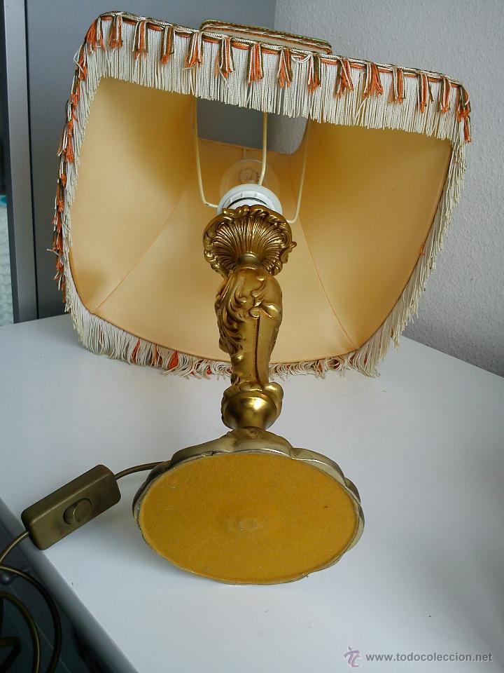 Antigüedades: MAGNIFI ANTIGUA LAMPARA ANOS 40 ,50 EL Pé ES HECHO DE METAL PINTADO A POLVO ORO 24K SELADO DRIMMER - Foto 4 - 47457247