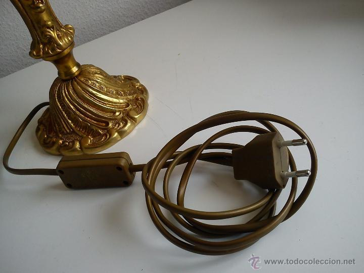 Antigüedades: MAGNIFI ANTIGUA LAMPARA ANOS 40 ,50 EL Pé ES HECHO DE METAL PINTADO A POLVO ORO 24K SELADO DRIMMER - Foto 9 - 47457247
