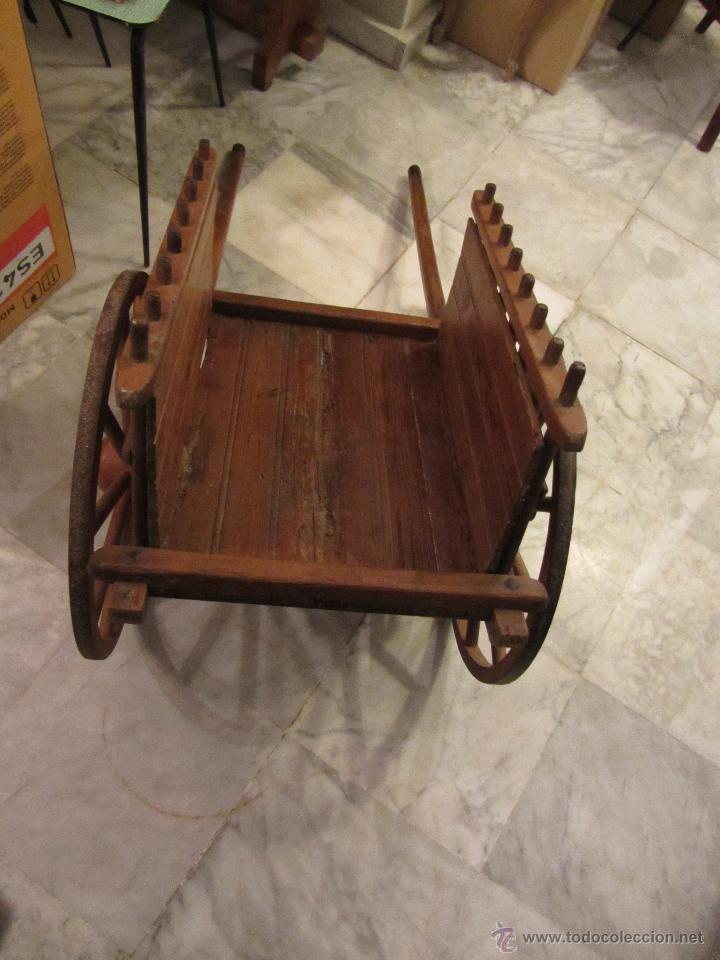 Antigüedades: Antiguo Carro de Arrastre para Animal Pequeño o Juguete de Niños - Año 1910 - Foto 4 - 47478822