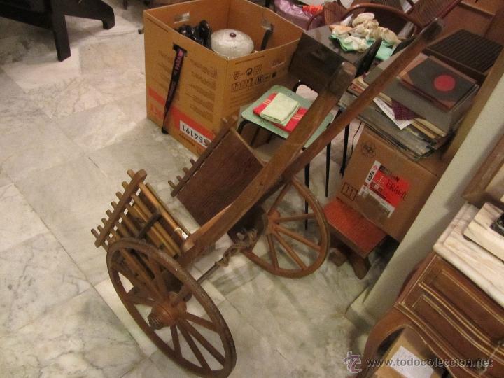 Antigüedades: Antiguo Carro de Arrastre para Animal Pequeño o Juguete de Niños - Año 1910 - Foto 7 - 47478822