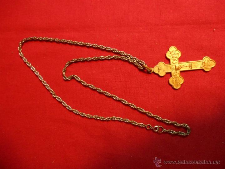 ANTIGUO CRUCIFIJO PECTORAL EN BRONCE DORADO (Antigüedades - Religiosas - Crucifijos Antiguos)