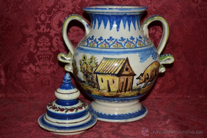 Antigüedades: PRECIOSA ORZA CON SU TAPADERA,POLICROMADA EN CERAMICA DE TRIANA,(SEVILLA),S. XIX - Foto 9 - 47510872