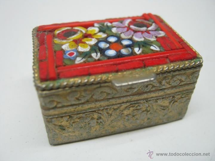 BELLA CAJA MINIATURA PASTILLERO MICRO MOSAICO ITALIANO (Antigüedades - Hogar y Decoración - Cajas Antiguas)