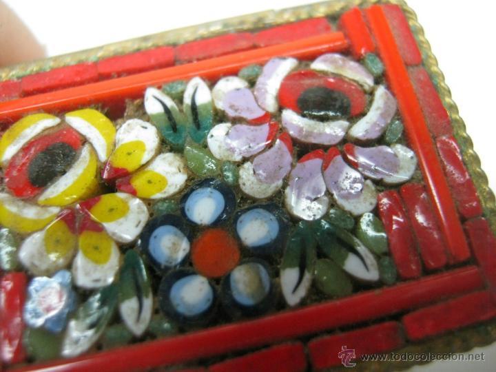 Antigüedades: Bella caja miniatura pastillero micro mosaico italiano - Foto 2 - 47511138
