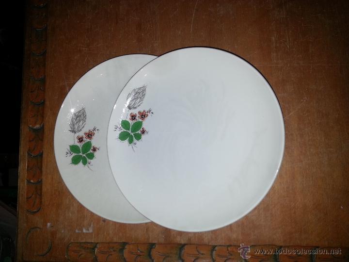PRECIOSA PAREJA DE GRANDES PLATOS DE LOSA CERAMICA SAN CLAUDIO , OVIEDO 25 CM DIAMETRO (Antigüedades - Porcelanas y Cerámicas - San Claudio)