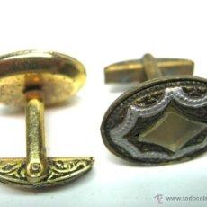 Antigüedades: PAREJA ANTIGUOS GEMELOS DAMASQUINADO TOLEDO. Lote 47539518