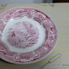 Antigüedades: ANTIGUO PLATO DE CARTAGENA, ESCENA CAZA DEL CIERVO EN ROSA, PRECIOSO. Lote 60627169