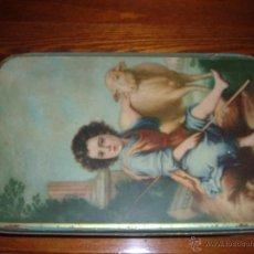 Antigüedades: CAJA DE LATA DE MEMBRILLO. Lote 47574562
