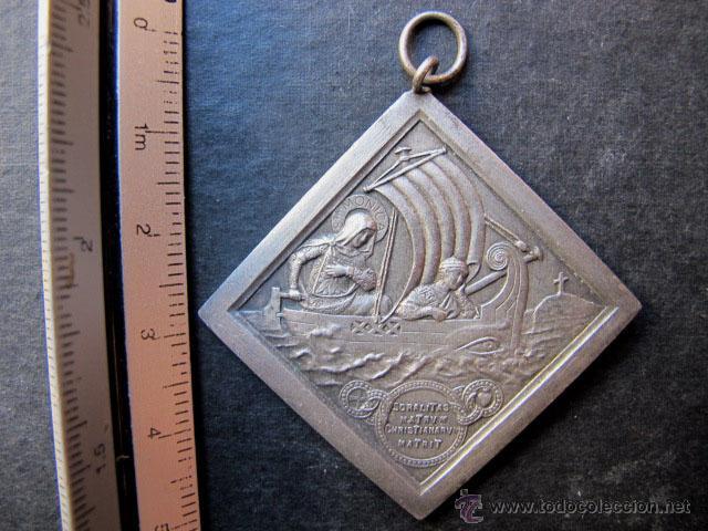 MEDALLA RELIGIOSA ANTIGUA SANTA MONICA Y VIRGEN S XX (Antigüedades - Religiosas - Medallas Antiguas)