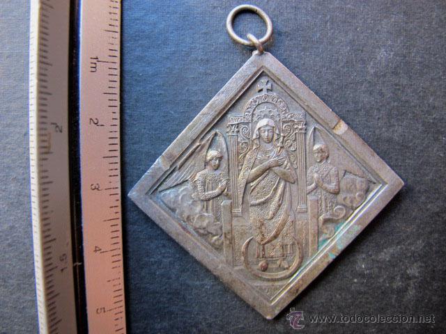 Antigüedades: Medalla religiosa antigua santa monica y virgen s XX - Foto 2 - 47589475
