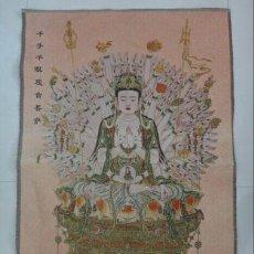 Antigüedades: PRECIOSO THANGKA DE SEDA, BORDADO A MANO - ARTE BUDISTA - BUDA BUDDHA GUANYIN. Lote 52120161