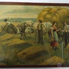 Antigüedades: BANDEJA MADERA DECORACIÓN MOTIVOS DE CAMPO- 806. Lote 43779657