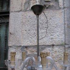 Antigüedades: LAMPARA DE TECHO VIDRIO 5 BRAZOS, CABLEADO NUEVO, TODO ORIGINAL - AÑOS 50 + INFO. Lote 47612099