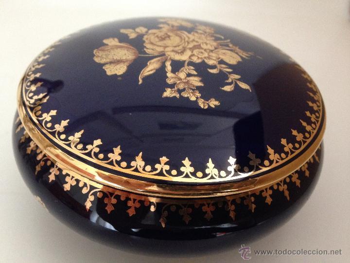 PRECIOSA CAJA JOYERO COBALTO Y ORO LIMOGES (Antigüedades - Porcelana y Cerámica - Francesa - Limoges)