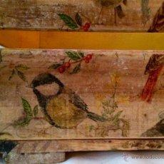 Antigüedades: ANTIGUA CAJA DE FRUTAS DECORADA AL ESTILO ANTIGUO , PÁJAROS, JARDÍN, PRIMAVERA.... Lote 47636630