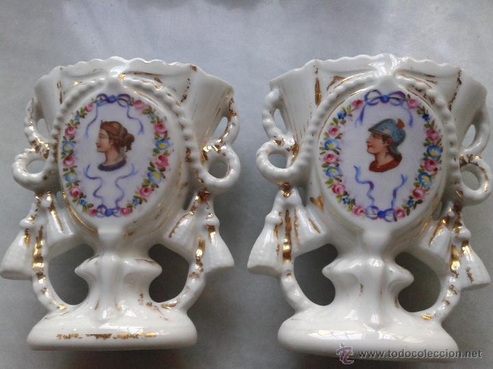PAREJA BUCAROS O JARRONES PORCELANA. SIGLO XIX (Antigüedades - Porcelana y Cerámica - Francesa - Limoges)