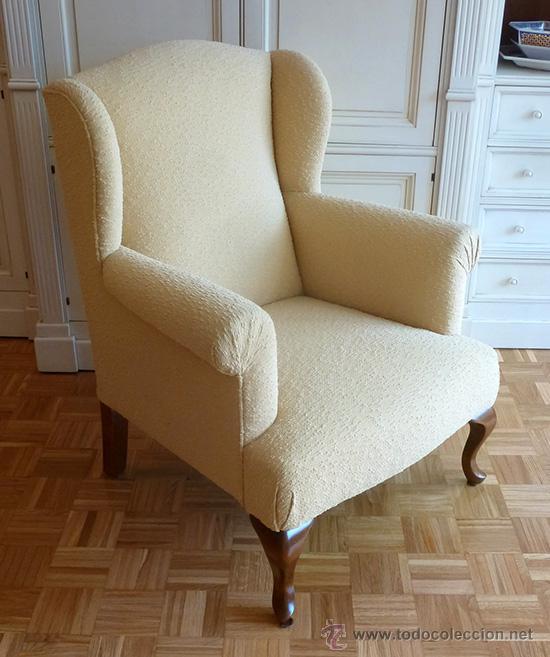 Magn fico sill n orejero individual antiguo pat comprar - Sillones de madera antiguos ...