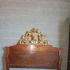 Antigüedades: CAMA ISABELINA DE JACARANDA CON MARQUETERÍA DE BOJ, SIGLO XIX. Lote 47656875