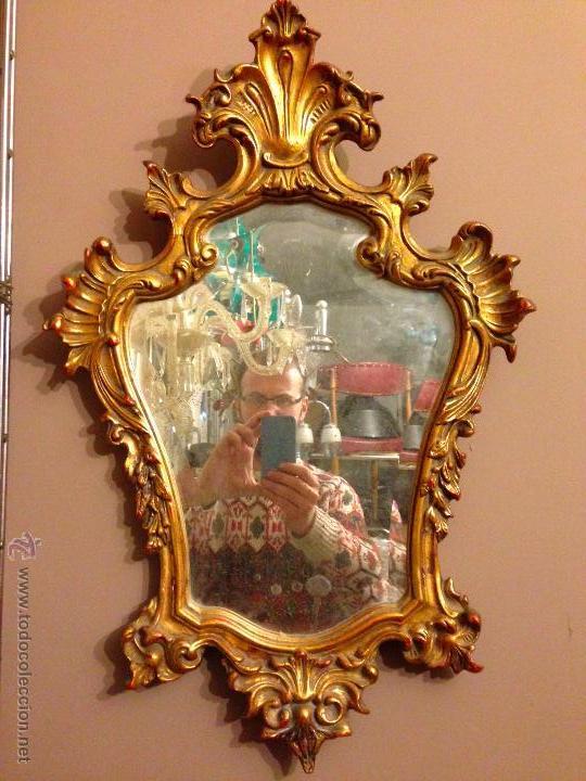 Espejo cornucopia pan de oro pared shabby chic comprar - Espejos antiguos de pared ...