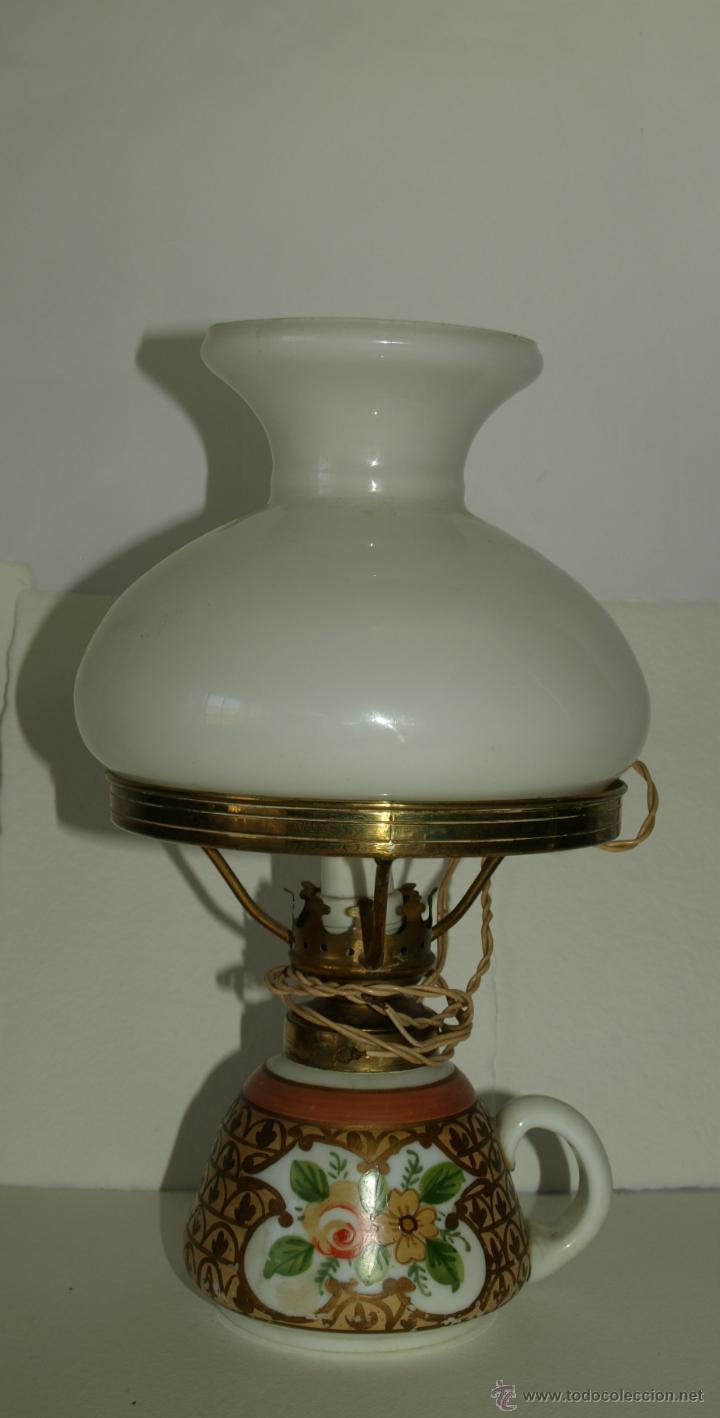 ANTIGUO QUINQUE- AÑOS 50- 75 CM DE ALTO. CON TULIPA (Antigüedades - Iluminación - Quinqués Antiguos)