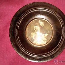 Antigüedades: MARCO REDONDO CON CRISTAL DE MADERA DIAMETRO 15 CM. Lote 47676402