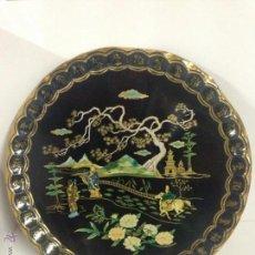 Antigüedades: ENORME BANDEJA DE METAL CON ESCENA RURAL CHINA. Lote 47691904