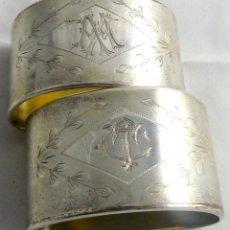 Antigüedades: SERVILLETEROS ANTIGUOS DE PLATA CON SUS CORRESPONDENTES PUNZONES. Lote 47707073