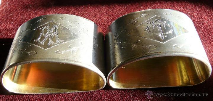 Antigüedades: SERVILLETEROS ANTIGUOS DE PLATA CON SUS CORRESPONDENTES PUNZONES - Foto 2 - 47707073