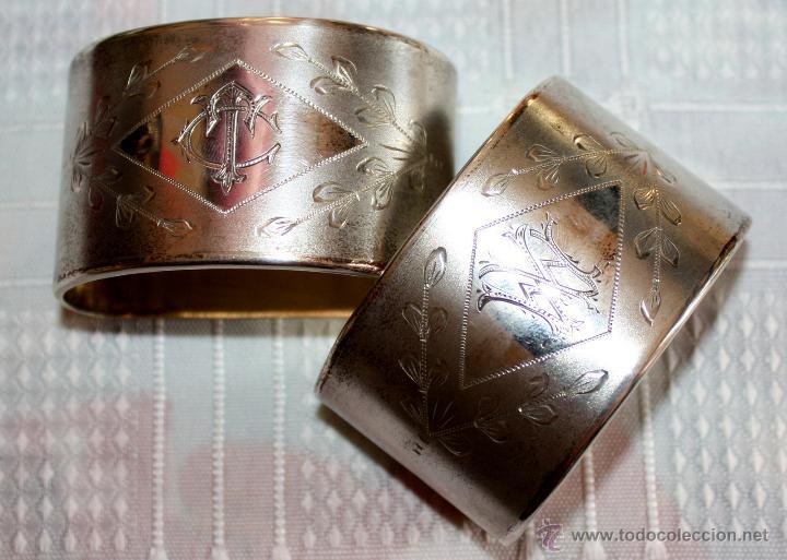 Antigüedades: SERVILLETEROS ANTIGUOS DE PLATA CON SUS CORRESPONDENTES PUNZONES - Foto 4 - 47707073