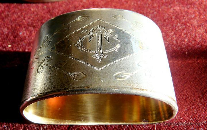 Antigüedades: SERVILLETEROS ANTIGUOS DE PLATA CON SUS CORRESPONDENTES PUNZONES - Foto 5 - 47707073