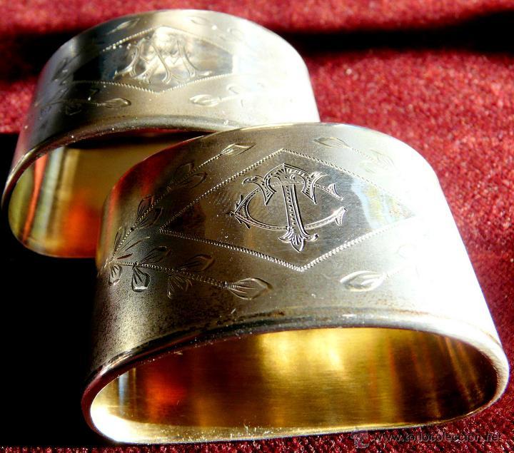 Antigüedades: SERVILLETEROS ANTIGUOS DE PLATA CON SUS CORRESPONDENTES PUNZONES - Foto 6 - 47707073