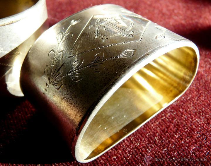 Antigüedades: SERVILLETEROS ANTIGUOS DE PLATA CON SUS CORRESPONDENTES PUNZONES - Foto 12 - 47707073