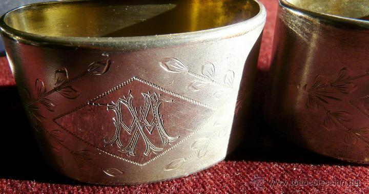 Antigüedades: SERVILLETEROS ANTIGUOS DE PLATA CON SUS CORRESPONDENTES PUNZONES - Foto 15 - 47707073