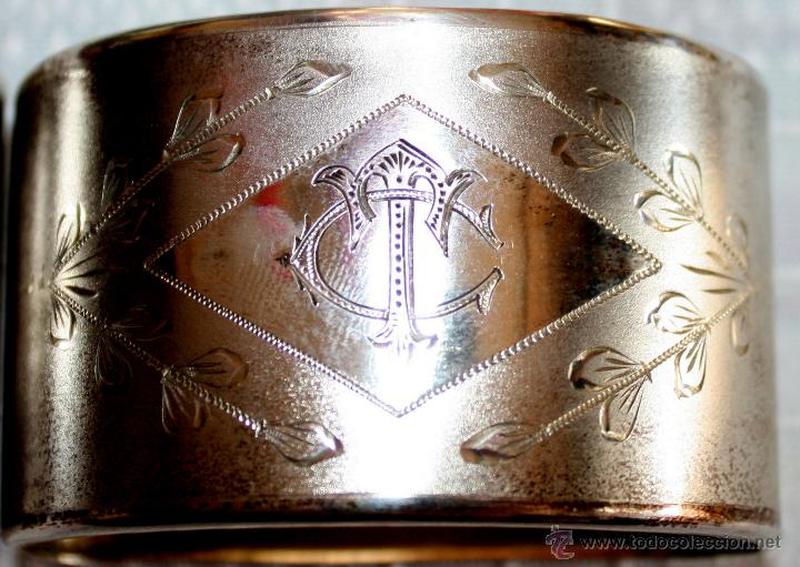 Antigüedades: SERVILLETEROS ANTIGUOS DE PLATA CON SUS CORRESPONDENTES PUNZONES - Foto 16 - 47707073
