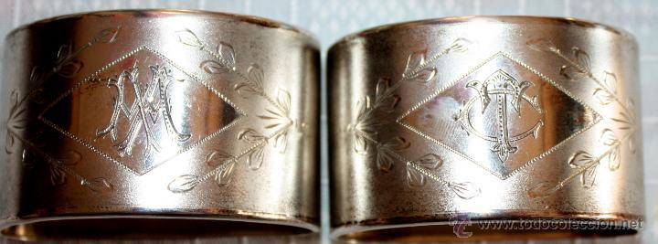 Antigüedades: SERVILLETEROS ANTIGUOS DE PLATA CON SUS CORRESPONDENTES PUNZONES - Foto 18 - 47707073