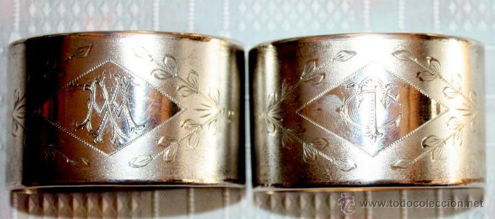 Antigüedades: SERVILLETEROS ANTIGUOS DE PLATA CON SUS CORRESPONDENTES PUNZONES - Foto 20 - 47707073