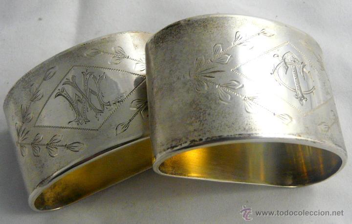 Antigüedades: SERVILLETEROS ANTIGUOS DE PLATA CON SUS CORRESPONDENTES PUNZONES - Foto 21 - 47707073