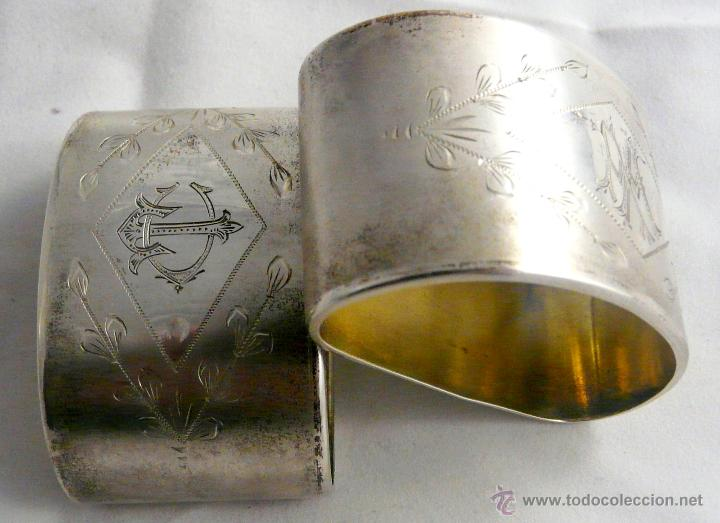 Antigüedades: SERVILLETEROS ANTIGUOS DE PLATA CON SUS CORRESPONDENTES PUNZONES - Foto 24 - 47707073
