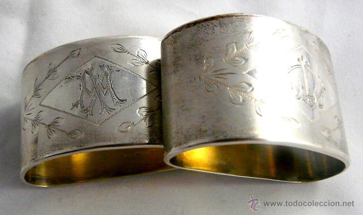Antigüedades: SERVILLETEROS ANTIGUOS DE PLATA CON SUS CORRESPONDENTES PUNZONES - Foto 25 - 47707073