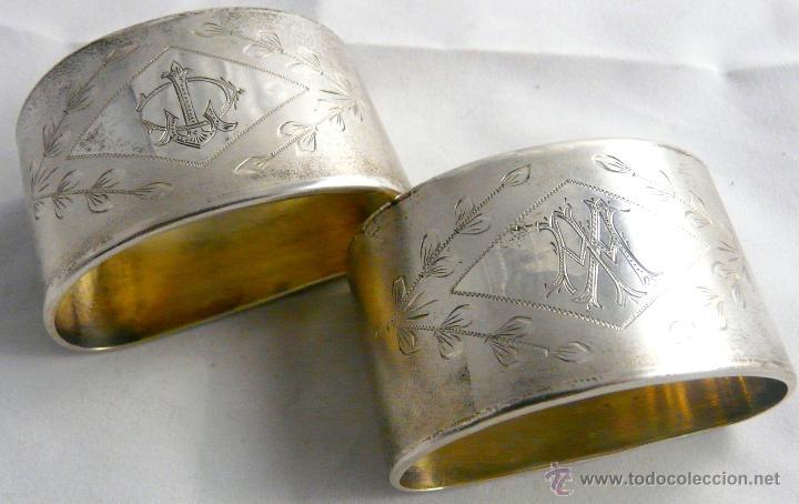 Antigüedades: SERVILLETEROS ANTIGUOS DE PLATA CON SUS CORRESPONDENTES PUNZONES - Foto 27 - 47707073