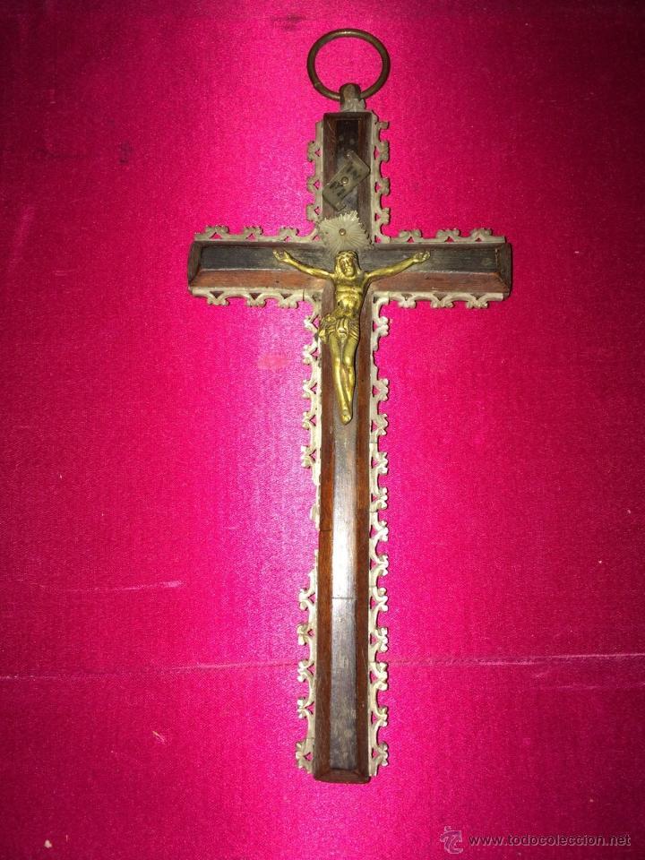 CRUCIFIJO PEREGRINACIÓN JERUSALÉN S. XIX (Antigüedades - Religiosas - Cruces Antiguas)