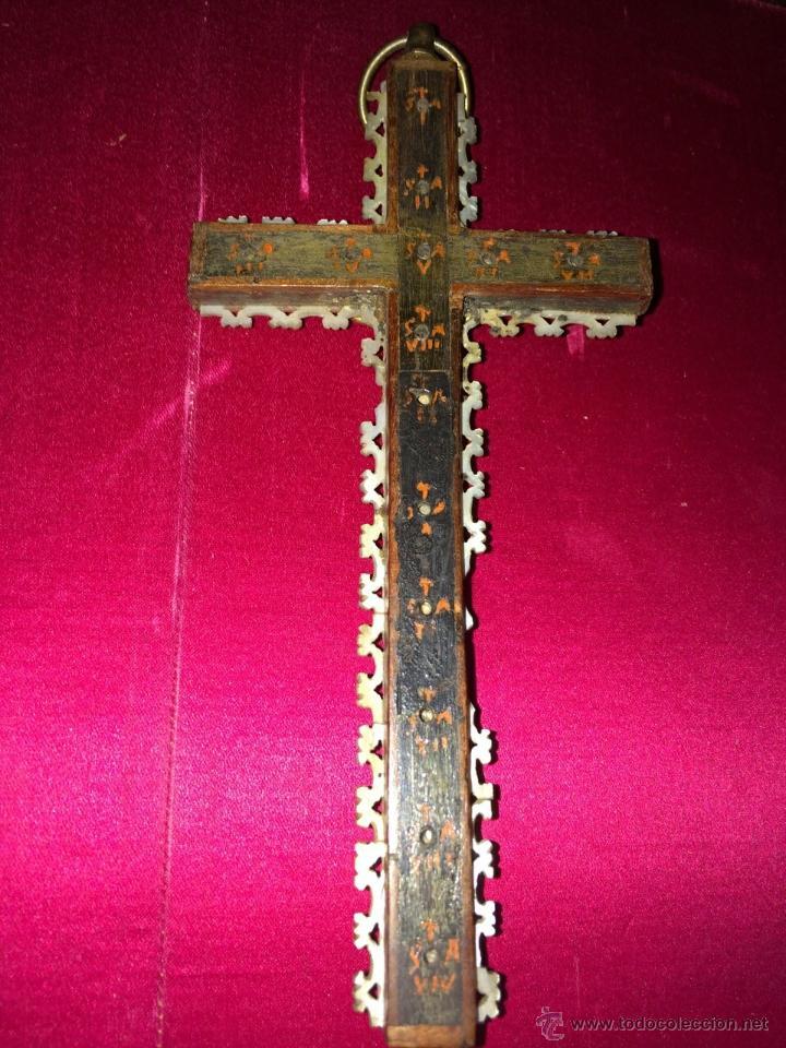 Antigüedades: crucifijo peregrinación Jerusalén S. XIX - Foto 2 - 47708896