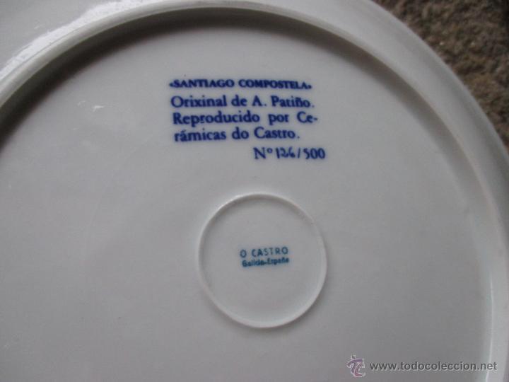 Antigüedades: CASTRO SARGADELOS - PLATO SANTIAGO DE COMPOSTELA - EJEMPLAR Nº126/500 -27CM - DIBUJO DE PATIÑO + - Foto 2 - 47738218