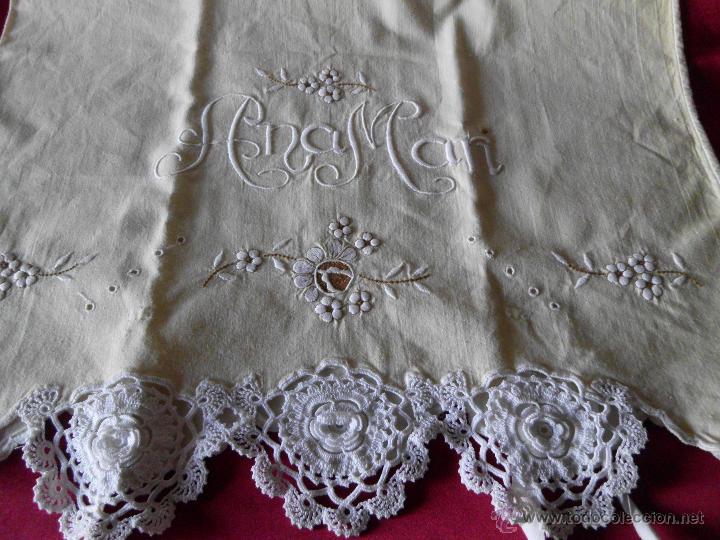 Antigüedades: Sábana con funda de algodón con bordado y puntilla hecho a mano - Foto 8 - 47740106