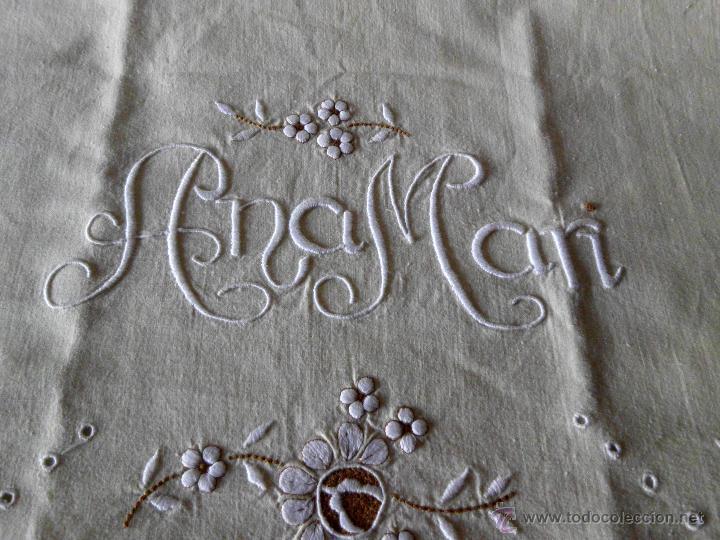 Antigüedades: Sábana con funda de algodón con bordado y puntilla hecho a mano - Foto 9 - 47740106