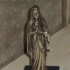Antigüedades: VIRGEN SOBRE PEANA DE MARMOL NEGRO.. Lote 47758459