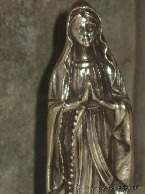 Antigüedades: VIRGEN SOBRE PEANA DE MARMOL NEGRO. - Foto 2 - 47758459