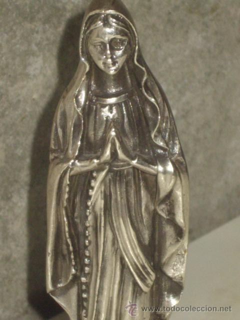 Antigüedades: VIRGEN SOBRE PEANA DE MARMOL NEGRO. - Foto 3 - 47758459