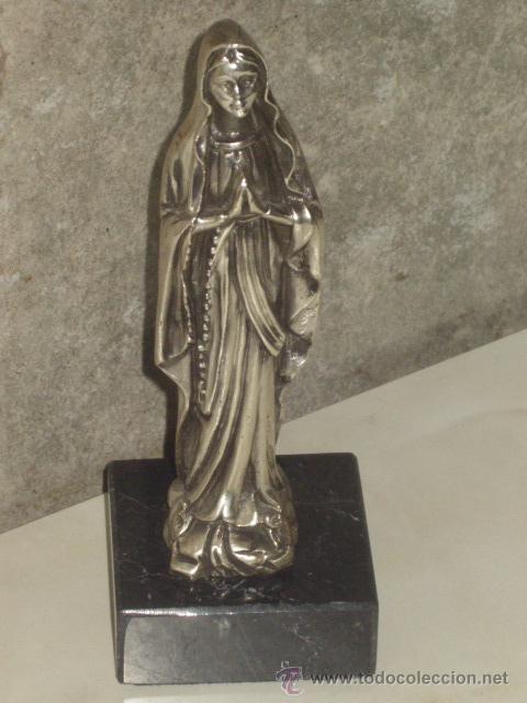 Antigüedades: VIRGEN SOBRE PEANA DE MARMOL NEGRO. - Foto 8 - 47758459