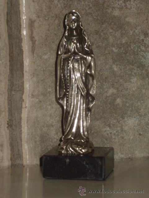 Antigüedades: VIRGEN SOBRE PEANA DE MARMOL NEGRO. - Foto 9 - 47758459